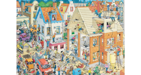 Jan van Haasteren, 1,500 piece comic jigsaw puzzle. The building site.17461